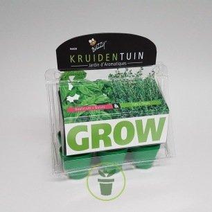 Mini serre 6 pots jardin d'aromatiques – Prêt à pousser