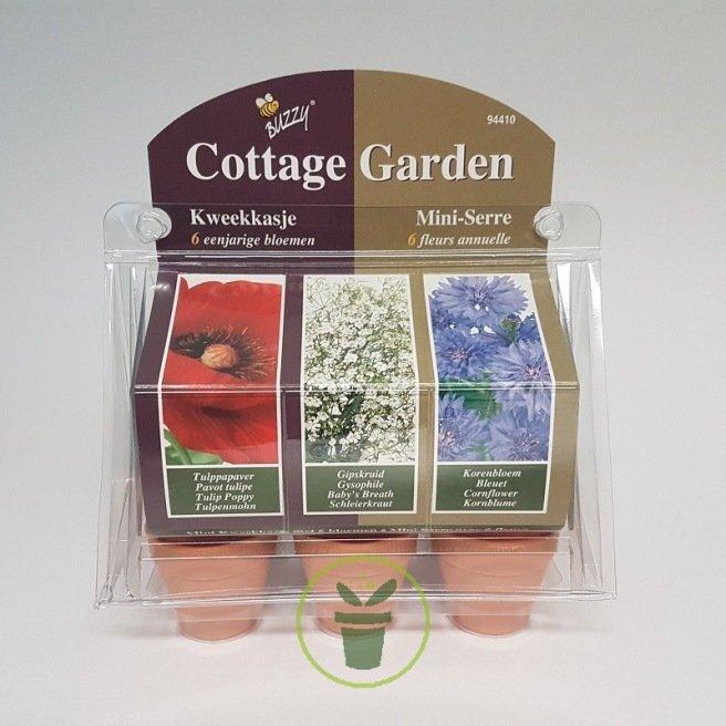 Mini serre 6 pots « Fleurs Cottage Garden » - Prêt à pousser